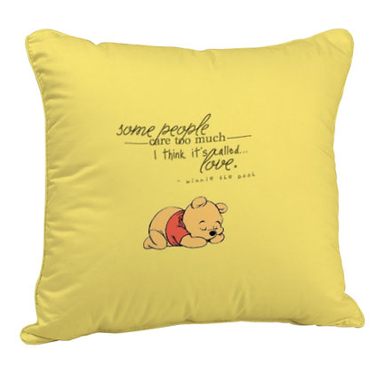 Sleepy pooh Printed Poly Satin Cushion Pillow with Filler