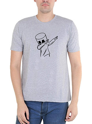 Marshmello Printed Regular Fit Round Men's T-shirt