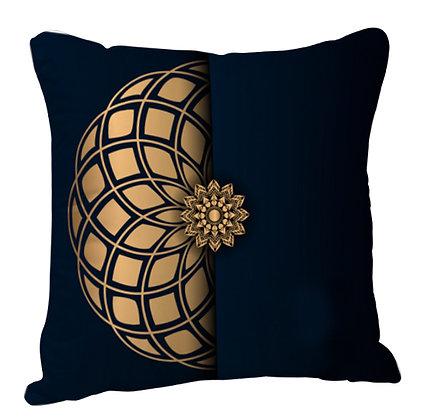 Beautiful Golden 3D Rangoli with Black Theme Satin Cushion Pillow with Filler