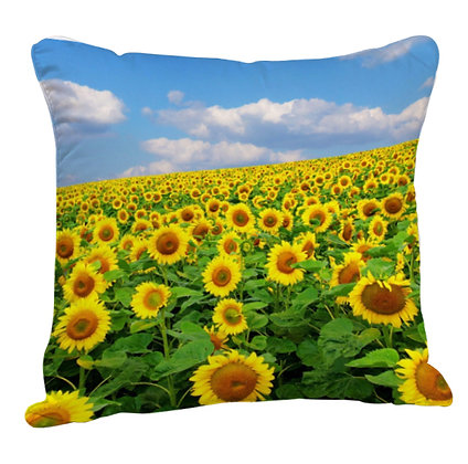 Flowers Printed Poly Satin Cushion Pillow with Filler