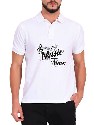 Music Time Printed Regular Fit Polo Men's T-shirt