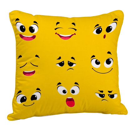 Funny faces Yellow Theme Satin Cushion Pillow Cover with Filler