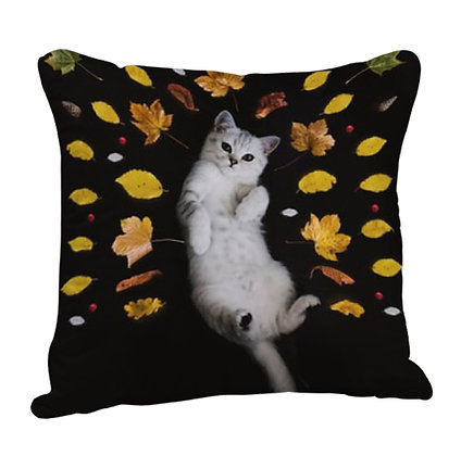 White Cat with Leaves Satin Cushion Pillow with Filler