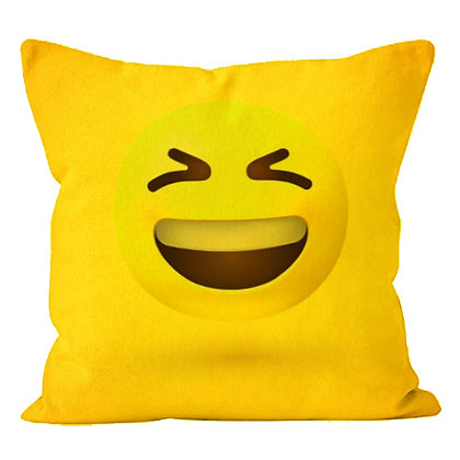 Face with Laugh Emoji  Printed Poly Satin Cushion Pillow with Filler