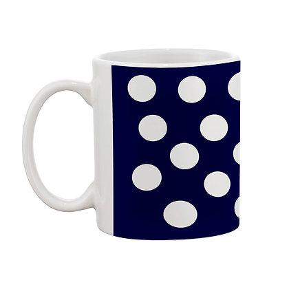 White Circle Blue Theme Pattern Ceramic Coffee Mug 325 ml