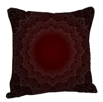 Beautiful Golden Rangoli with Red Theme Satin Cushion Pillow with Filler