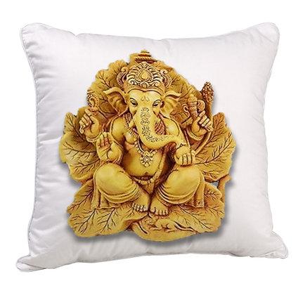 Lord Ganesha  Printed Poly Satin Cushion Pillow with Filler