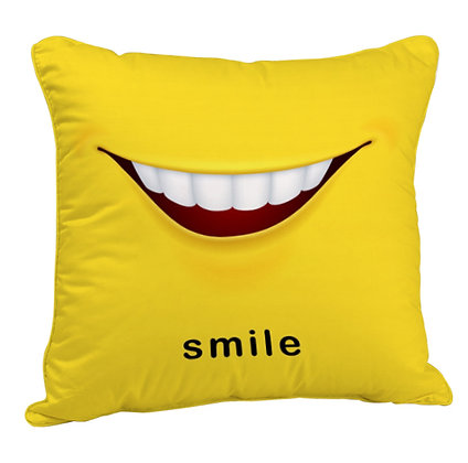 Smile Face Satin Cushion Pillow Cover with Filler