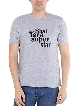 Bhai Tera Super Star Printed Regular Fit Round Men's T-shirt
