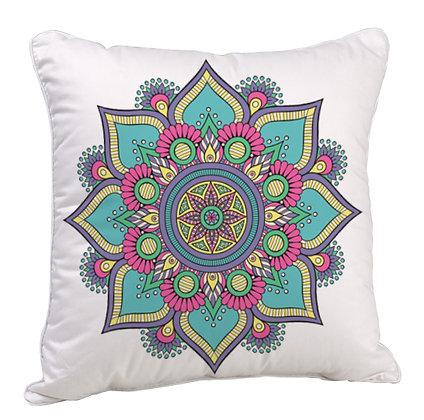 Multicolor Rangoli Theme Satin Cushion Pillow with Filler