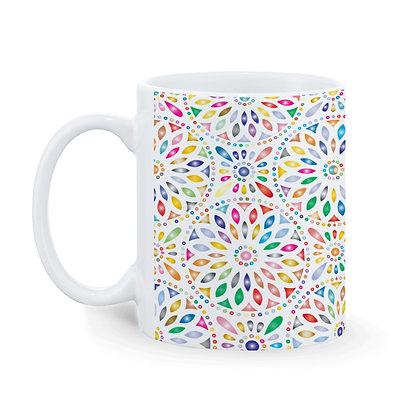 Abstract Rangoli Art Pattern Ceramic Coffee Mug 325 ml