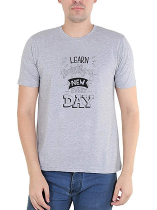 Learn something new every day Printed Regular Fit Round Men's T-shirt
