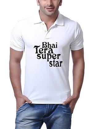 Bhai Tera Super Star Printed Regular Fit Polo Men's T-shirt