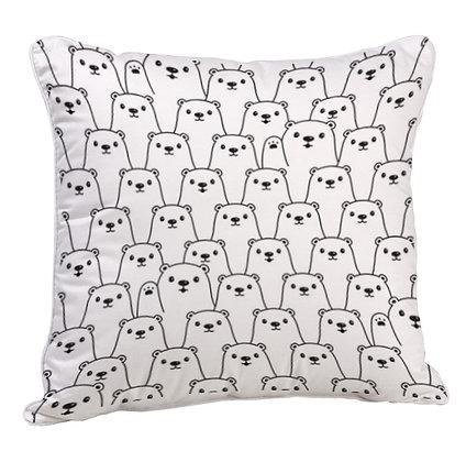 Bear Pattern Satin Cushion Pillow with Filler
