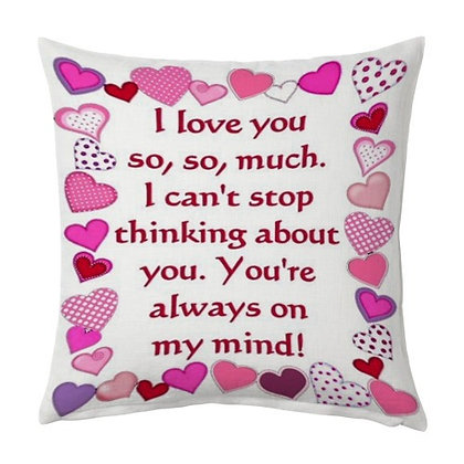 I Love You  Printed Poly Satin Cushions Pillow Cover with