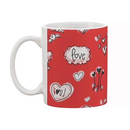 Love Red Theme Pattern Ceramic Coffee Mug 325 ml