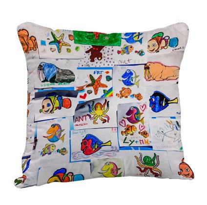 Animals Artwork Satin Cushion Pillow with Filler