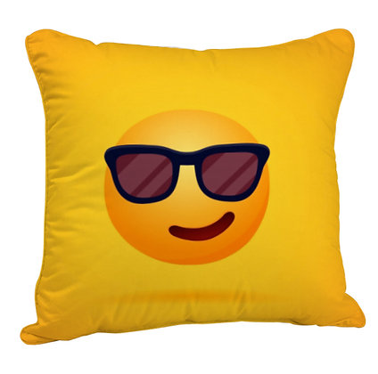 Smirking Face with Sunglasses EMOJI Satin Cushion Pillow Cover with Filler