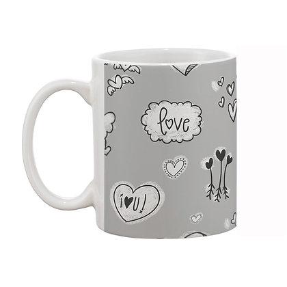 Love Grey Theme Pattern Ceramic Coffee Mug 325 ml