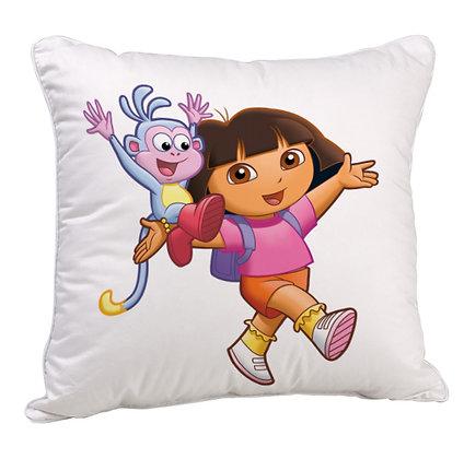 Cartoon Dora the Explorer Satin Cushion Pillow Cover with Filler