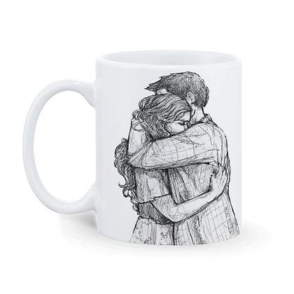 Couple hug Printed Ceramic Coffee Mug 325 ml