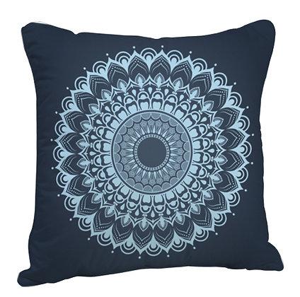 Beautiful  Rangoli with Dark Blue Theme Satin Cushion Pillow with Filler