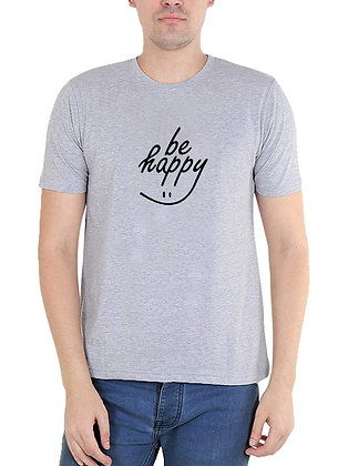 Be Happy Printed Regular Fit Round Men's T-shirt