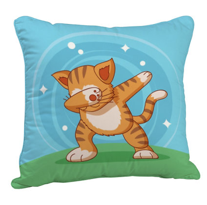 Mr. Cool Cat Satin Cushion Pillow with Filler
