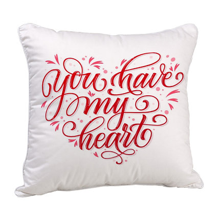 You have my Heart Satin Cushion Pillow with Filler