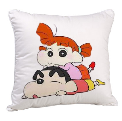 Shinchan with his sister Printed Poly Satin Cushion Pillow with Filler