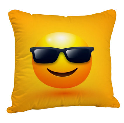 Smiling Face with Sunglasses EMOJI Satin Cushion Pillow Cover with Filler