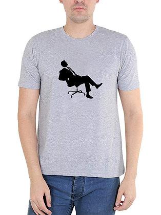 Businessman Printed Regular Fit Round Men's T-shirt