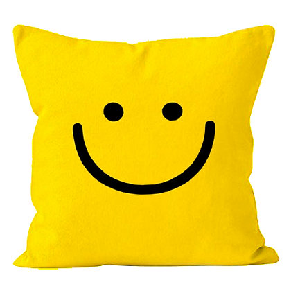 Smiley Printed Poly Satin Cushion Pillow with Filler