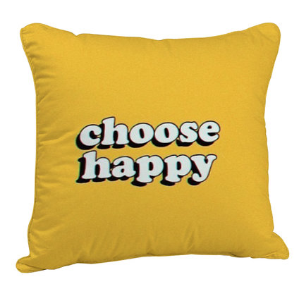 Choose Happy Printed Poly Satin Cushion Pillow with Filler