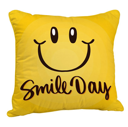 Smile Day Satin Cushion Pillow Cover with Filler