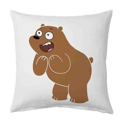 BEAR Printed Poly Satin Cushions Pillow Cover with Filler
