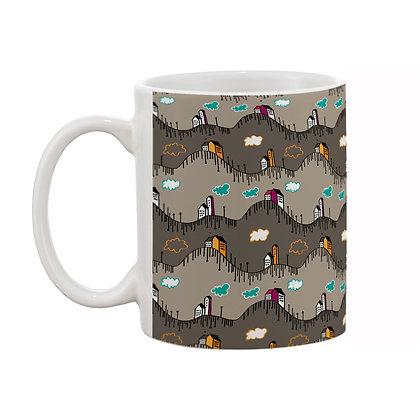 Buildings Grey Theme Pattern Ceramic Coffee Mug 325 ml