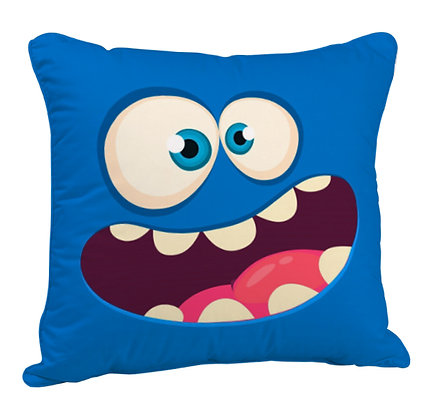 Cartoon Blue Funny Face Satin Cushion Pillow Cover with Filler