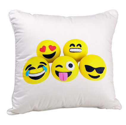 GROUP OF EMOJI Printed Poly Satin Cushion Pillow Cover with Fil