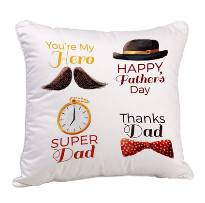Super DAD Happy Father's Day Satin Cushion Pillow with Filler