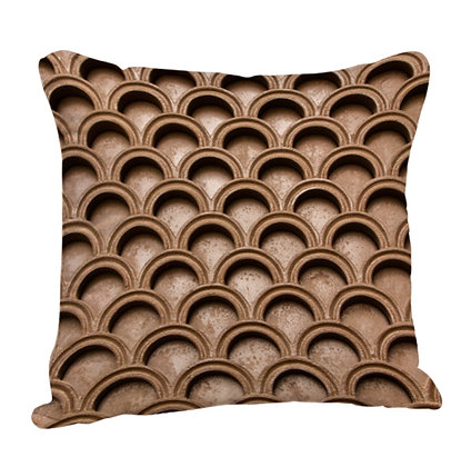 Chocolate Color Half Moon Pattern Satin Cushion Pillow Cover with Filler