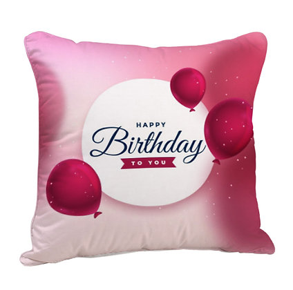 Happy Birthday Satin Cushion Pillow with Filler