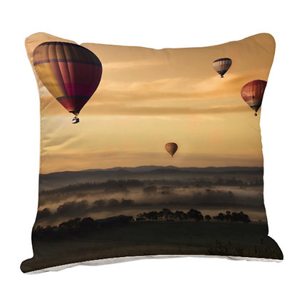Flying Parachute Nature Theme Satin Cushion Pillow with Filler