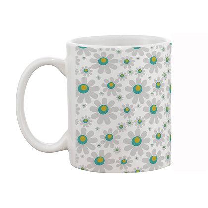 Sunflower White Theme Pattern Ceramic Coffee Mug 325 ml