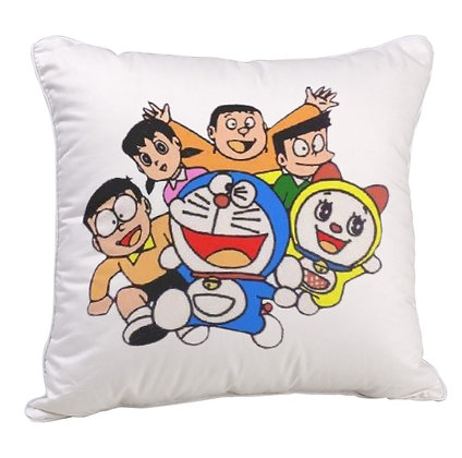 Doraemon & Friends Printed Poly Satin Cushion Pillow with Filler