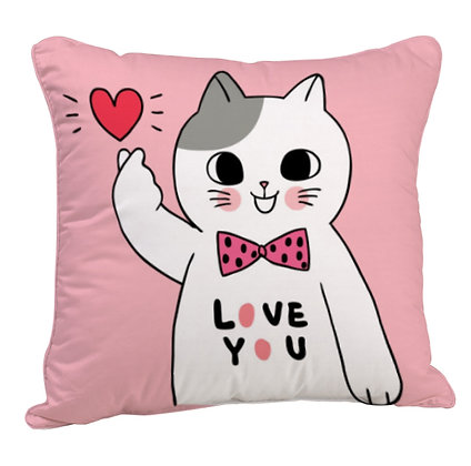 Love You Love Cat Satin Cushion Pillow with Filler