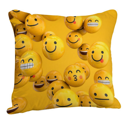 Full of Emoji Printed Poly Satin Cushion Pillow Cover with Filler