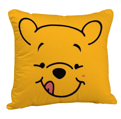 Pooh's face Printed Poly Satin Cushion Pillow with Filler