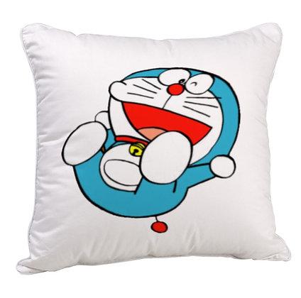 Doraemon Printed Poly Satin Cushion Pillow with Filler