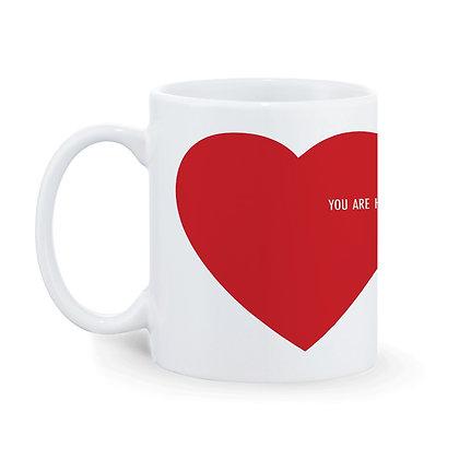 Red Heart Printed Ceramic Coffee Mug 325 ml